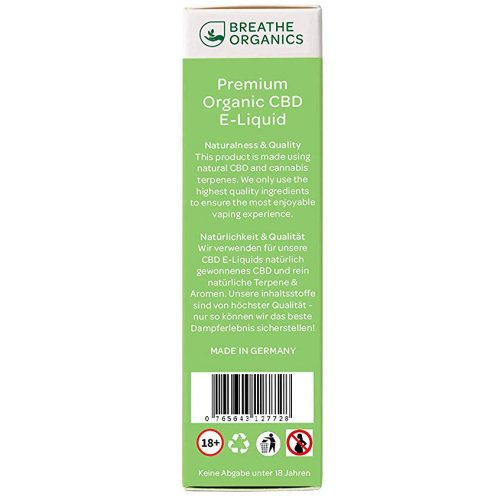 Premium CBD Liquid Lemon Haze Breathe Organics Rueckseite Packungshinweise